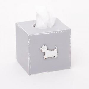 Krabička na kapesníky šedá - Pejsek