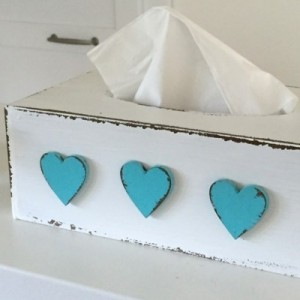 Krabička na kapesníky - Srdíčka tyrkysové