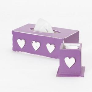Krabička na kapesníky purpurová - Srdíčka