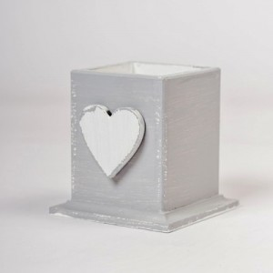 Hrnek na tužky šedý - Srdce
