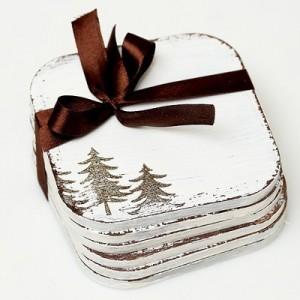 Dřevěné podložky 6 ks - Vánoční strom