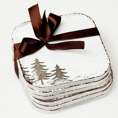 Dřevěné podložky Vánoční strom 6ks