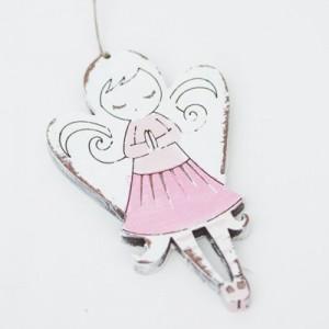 Závěska 10 cm - Anděl růžový
