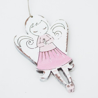 Závěska - andělíček, růžová sukýnka 10cm