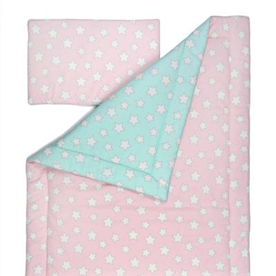 Souprava polštář a přikrývka 140x200 - Pink / Mint Stars