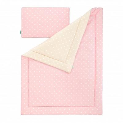 Souprava polštář a přikrývka - Lovely Dots Pink / Beige